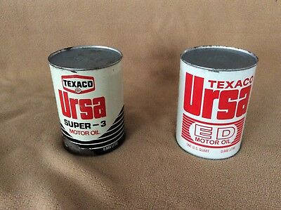 Two vintage full quart Texaco Ursa oil cans in good condition
