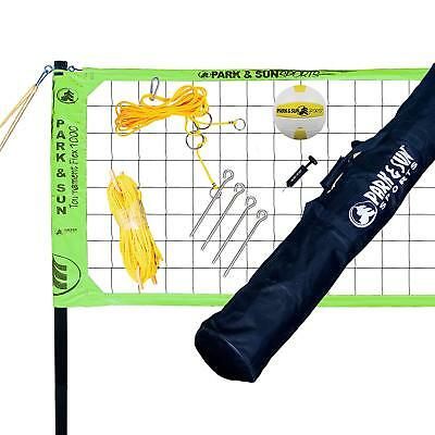 Park & Sun Sports Tournament Flex 1000 Family Outdoor Volleyball Net Set, Green