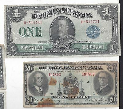 1923/1937 Canada 2=$1-5=$10-3=$20 Dollar Banknotes~CIRCULATED POOR TO FINE
