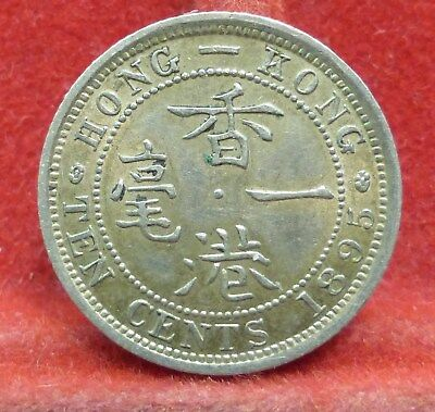HONG KONG 1895 Ten Cents Silver Queen Victoria NICE COIN