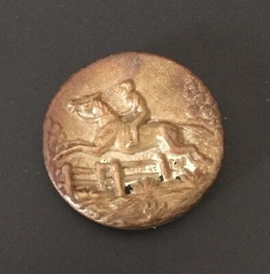 Vintage Stamped Brass Picture Button - Horse & Rider Jumping Fence Equestrian