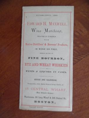 c.1890 Edward Maxwell Wine Liquor Whiskey Ale Spirits Price List Catalog Antique