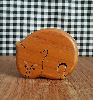 Small Cat Wooden Puzzle Box, Hand Carved Jewelry Box Trinket Box, Kitty Kitten
