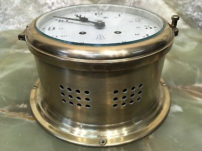 Large Germany Royal Mariner 7 Jewels Schatz Brass Wall Bell Strikes Ship's Clock