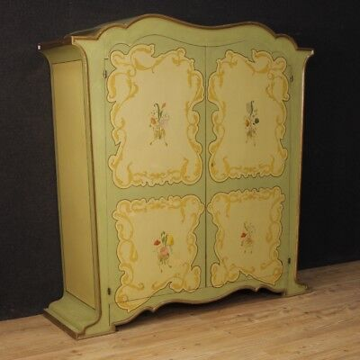 Armoire wardrobe Italian 2 doors antique style Art Nouveau lacquered furniture