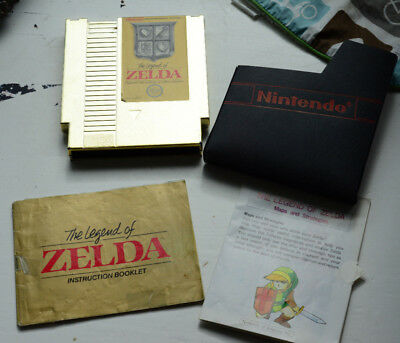 The Legend of Zelda Gold Cartridge Manual and Map (NES,1987)