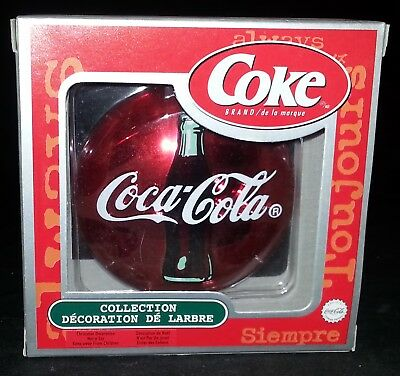 Coca-Cola Coke Ornament Trim A Tree Collection Red Disk Santa Ornament