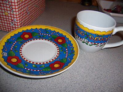 Mint In Box Time For Tea Tea Cup & Saucer Set From Mary Engelbreit Christmas
