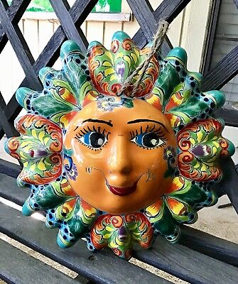 Talavera Mexican Pottery, Sun Face, Sol, Garden Decor