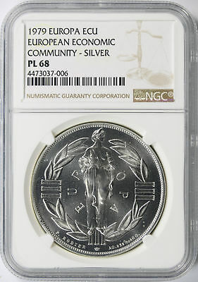 1979 Europa ECU European Economic Community Silver NGC PL68