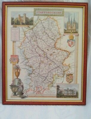 Staffordshire Map Framed Post or Collect Telford Shropshire