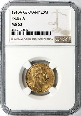 1910A Germany Prussia Gold 20 Mark NGC MS63
