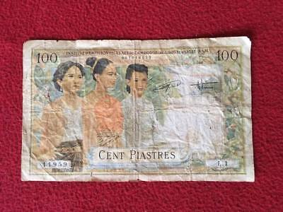 Vintage 1954 French Indochina 100 Piastres Paper Currency Fair