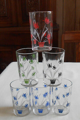 "Vintage Tulip Juice Glasses 3 1/2"" Swanky Swig? Red Green Black Blue"