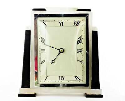 Quality Vintage Art Deco Mantel Clock, Black & White Marble, Chrome, Works Well