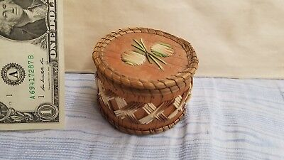 """H939) B.) Old N.A """"Sweet Grass"""" Porcupine Quill Small Basket, Abstract Designs"""