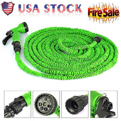 25 50 75 100 Feet Expandable Flexible Garden Water Hose w/ Spray Nozzle Watering