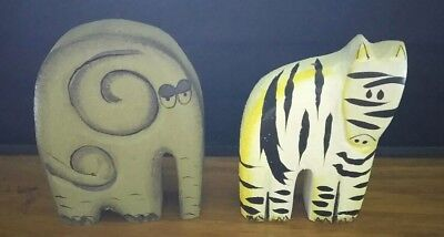 Estate Sale Find Beautiful Hand Carved Wooden Elephant And Zebra
