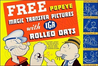 1935 Popeye Transfers Store Counter Standup Sign Repro IGA Rolled Oats Wimpy