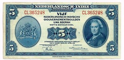 1943 NETHERLANDS INDIES 5 GULDEN NOTE - p113a