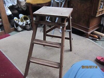 Small Pair Vintage Wooden Library Steps