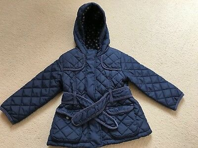 Next - Girls Blue Quilted Fleece Lined Jacket with hood (18 to 24 months)