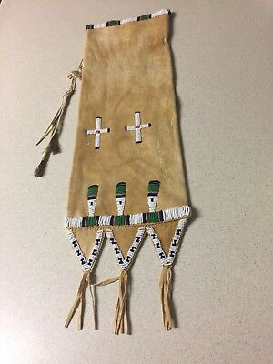Native American Indian Pipe Bag Beaded First Nations PLAINS Bead-work FRINGE OLD