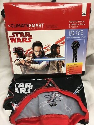 CLIMATE SMART CUDDL DUDS Star Wars Poly Warm Base Layers Top & Pant Boy XL 16 18