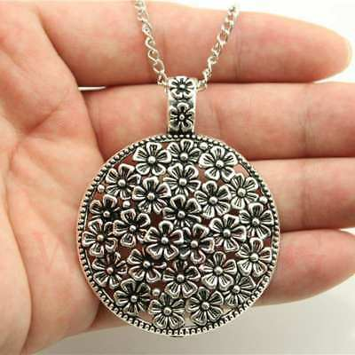 2019 Hot Antique Silver Round Flower Pattern Pendant Link Chain Girls Necklace