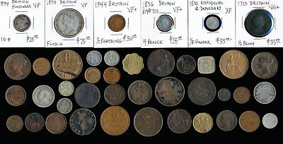 43 Old British & Ex-Colony Coins & Tokens (Very Collectible)  No Reserve