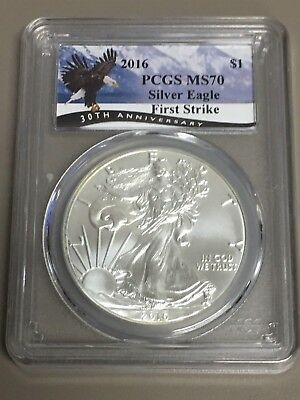 2016 $1 Silver American Eagle PCGS MS 70 First Strike 30th Anniversary Label