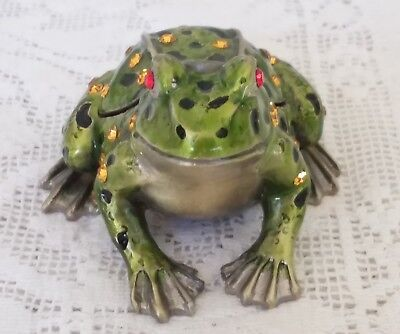 AWESOME Cast Metal Jeweled & Enameled FROG Trinket Box TOO CUTE!!