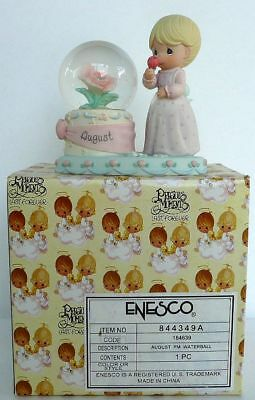 Nib Enesco Retired  Precious Moments August Waterball Snowball With Rose New