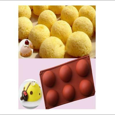 New 6 Half Ball Round Chocolate Cake Candy Soap Mold Flexible Silicone Mould JJ
