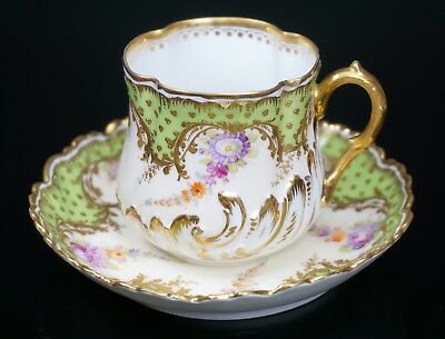 DRESDEN LAMM Hand Painted Gold Green Porcelain Cup and Saucer - GORGEOUS