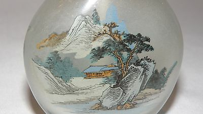 Vintage Antique Snuff Bottle Reverse Inside Painted Chinese Landscape