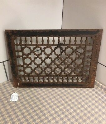 Antique Cast Iron Victorian Grate Heating Ventilation Duct Intake 13-5/8x9-11/16