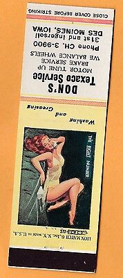1950s Don's Texaco Service, 31st & Ingersoll Des Moines IA, Pin-up matchbook #2