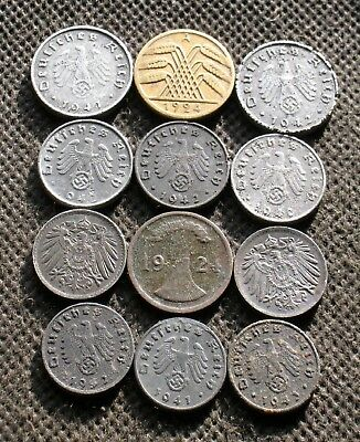 Lot Of Twelve Old Coins Of Germany (Empire & Weimar & Third Reich) - Mix 966