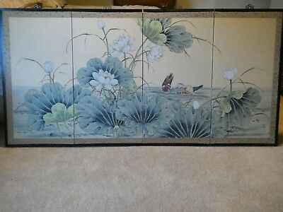 """FOUR PANEL ANTIQUE JAPANESE SILK BYOBU - BIRDS AND FLOWERS 35"""" x 70"""" PAINTING"""