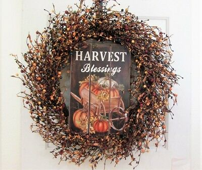 Large Fall Wreath - Door Decor - Autumn Wreath - Harvest Blessing  FREE SHIPPING