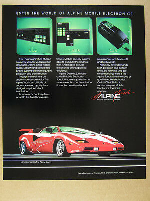 1985 red lamborghini countach Alpine Car Audio Security Cellular vintage Ad