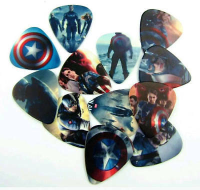 Captain Superhero Guitar Picks Lot of 10 .71 mm Medium Free Track New