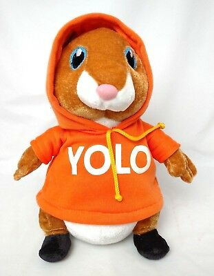 """Mint Awesome HAMSTER in YOLO Orange HOODIE PLush Stuffed YOU ONLY LIVE ONCE 10"""""""