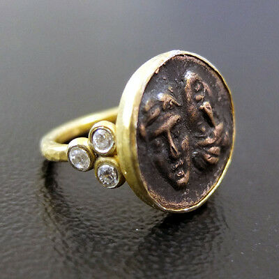 Handmade Hammered Roman Coin Ring With Topaz Gold over 925 Sterling Silver