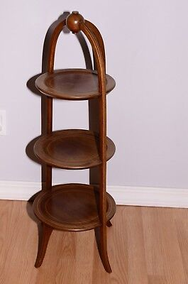 "Kittinger Biggs Mahogany Regency Style 3-Tier Muffin Table Stand 36"" Tall"