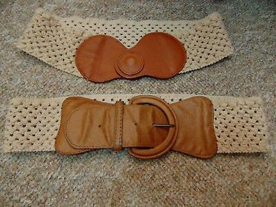 2 Vintage Belts Boho Crochet and Leather and Crochet and Faux Leather 1970s