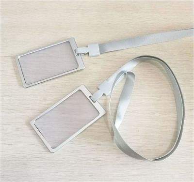 1PC - Alloy Frame ID Name Office Identity Case Holder Tag Case + Lanyard