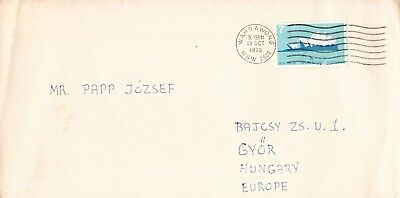 T0161sbs Australia 1973 WARRAWONG 7c Opera House solo cover to HUNGARY
