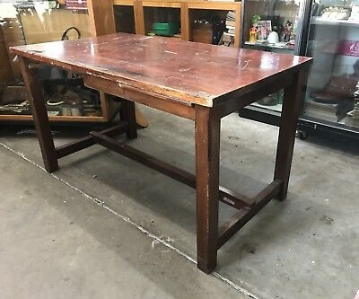 Vintage 40s Industrial Wooden Workbench Table Bench Brunswick Textiles Sewing